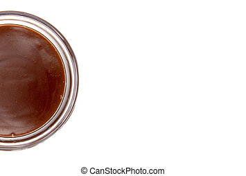 Single Bowl of Homemade Chocolate Pudding on a White Background