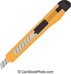 Single box knife isolated on white background