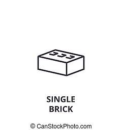 single brick vector line icon, sign, illustration on background, editable strokes