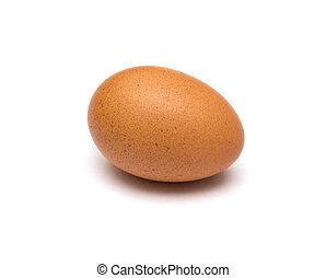single brown egg isolated on white background