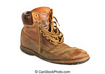 Single brown leather work boot on white - Old worn brown ...