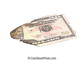 single burnt dollar banknote on white