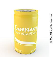 single can of fizzy soda lemon or lemonade with original design