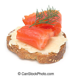 single canape with red fish on white background