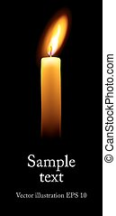 Single candle with space for text on a black background. (Realistic vector illustration).