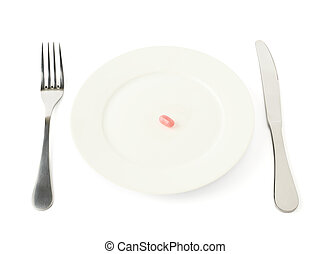 Single candy in a plate isolated