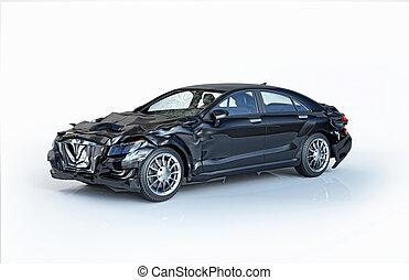 Single car accident. Black luxury sedan damaged on front and back.