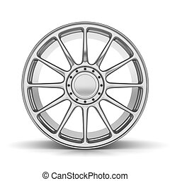 Single Car Rim on White Background Front View