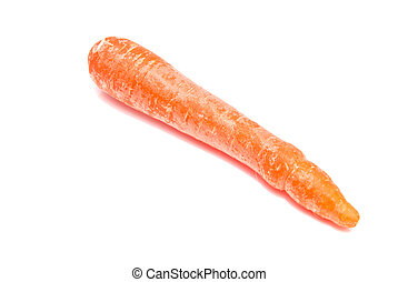 single carrot close-up on white