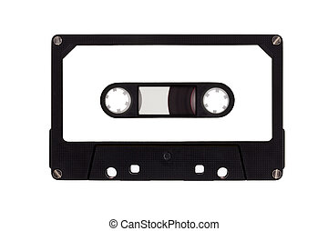 Single cassette tape, isolated on a white background