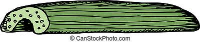 Single Celery Stick - Single cut celery stick cartoon over ...