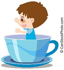 Single character of boy in blue cup on white background
