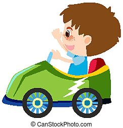 Single character of boy in green car on white background