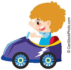 Single character of boy in purple car on white background