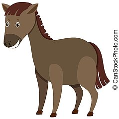 Single character of brown horse on white background