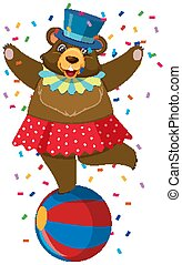 Single character of circus bear on white background