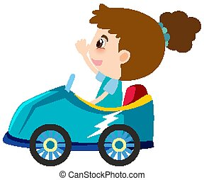 Single character of girl in blue car on white background