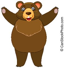 Single character of grizzly bear on white background