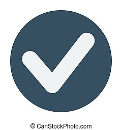 Single check mark icon. Flat design vector illustration