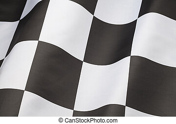 Single Checkered Flag with Wave in it Isolated on White Background.