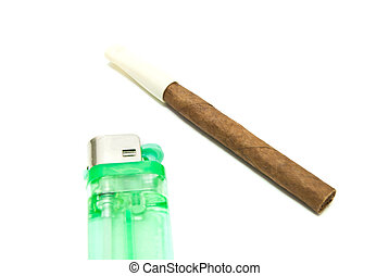 single cigarillo and lighter on white
