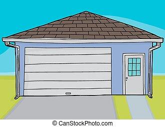Single Closed Door Garage