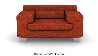 single cloth sofa on white background .