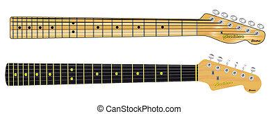 Single Coil Guitar Necks - Two guitar necks typical of...