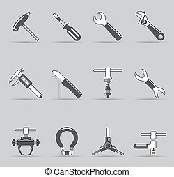 Bicycle tools icon set in single color. EPS 10 with transparent shadows placed on separated layer.