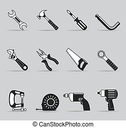 Single Color Icons - Hand Tools - Hand tools icon set in...