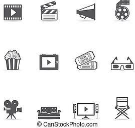 Single Color Icons - Movies - Movie icon set in single...