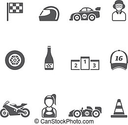 Single Color Icons - Racing - Racing icon series in single...
