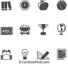 "Single Color Icons - School - ""School stuff icon set. EPS 10..."