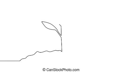 Single continuous line art growing sprout. Plant leaves seed grow soil seedling eco natural farm concept design one sketch outline drawing animation
