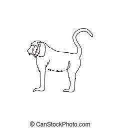 Single continuous line drawing of walking baboon for national zoo logo identity. Cute primate animal mascot concept for circus show icon. Modern one line draw design graphic vector illustration