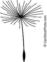 Single dandelion seed flying in the air