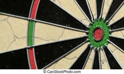 Single dart hits the bulls eye on a dartboard