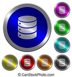 Single database luminous coin-like round color buttons