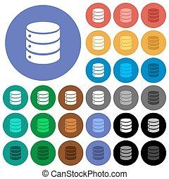 Single database round flat multi colored icons