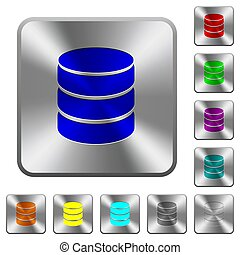 Single database rounded square steel buttons