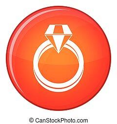 Single diamond ring icon, flat style