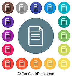 Single Document flat white icons on round color backgrounds. 17 background color variations are included.