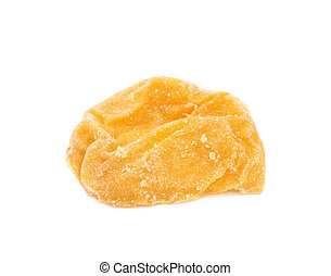 Single dried apricot isolated