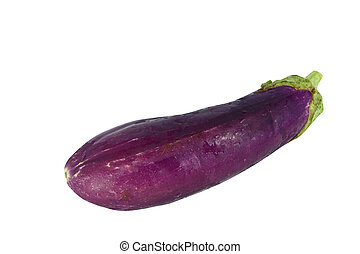 Single eggplant isolated on white with clipping path