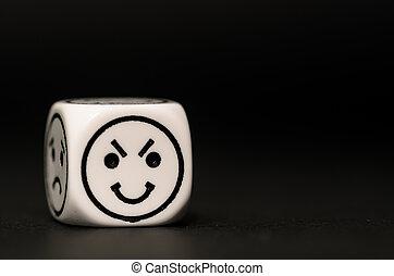 single emoticon dice with happy expression sketch on black...