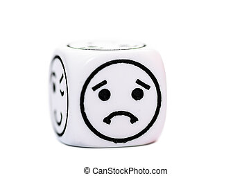 single emoticon dice with sad expression sketch isolated on...