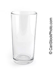 Single empty glass isolated on white