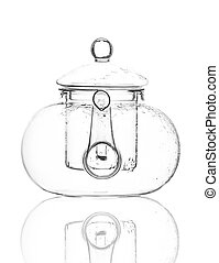 Single empty glass teapot isolated on a white background.