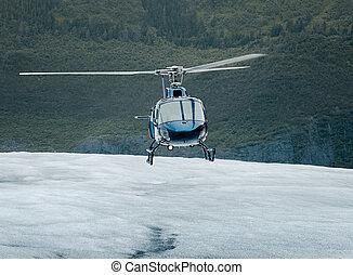 Single-engine helicopter landing