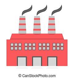 Single Factory Building Flat Design